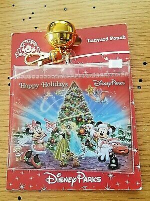 BRAND NEW Disney Parks Christmas Lanyard Pouch with GOLD BELL CHARM RARE LK
