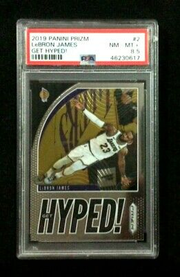 2019 Panini Prizm LEBRON JAMES Los Angeles Lakers Get Hyped card 2 PSA 8-5