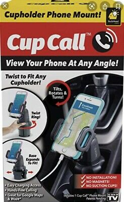 Cup Call Cupholder Phone Mount Fits Cell Phones To 3-5 Wide Hands Free Vehicle