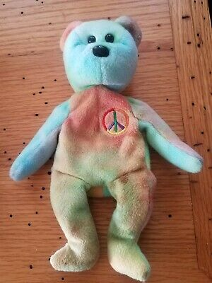 TY PEACE BEAR - retired - ULTRA RARE ERROR MANUFACTURING DEFECT - must see pics