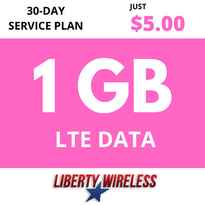 5-00 Liberty Wireless Phone Plan 1GB of 4G LTE Data Monthly