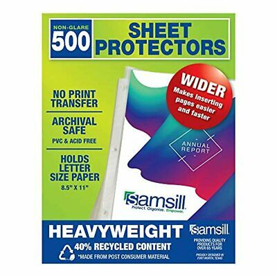 Samsill Recycled 500 Heavyweight Sheet Protectors Clear Page Protectors for 3 R