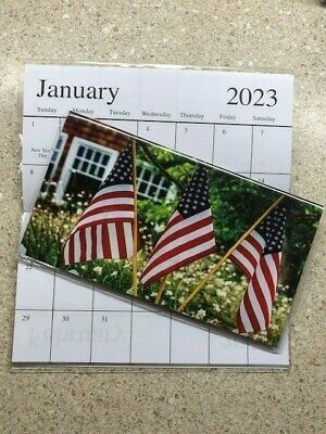 2022-2023 America 3 FLAGS 2 Year Planner Pocket Calendar FREE SHIPPING