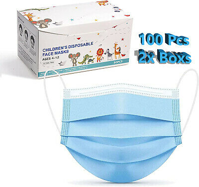 1050100 Pcs Kids Children Blue 3-Ply Disposable Face Mask Earloop Mouth Cover