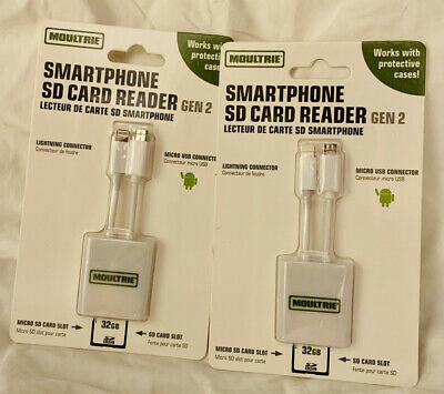 Set Of 2 Brand New Moultrie MCA-13376 Smart Phone SD Card Reader Gen 2