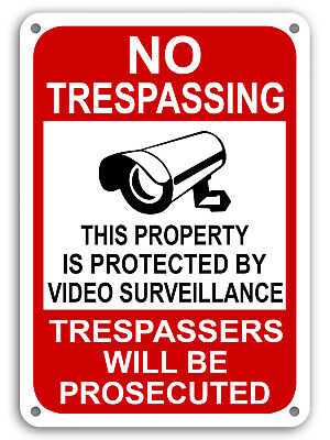 Property Protected By Video Surveillance Warning Security Camera Sign cctv 7x11