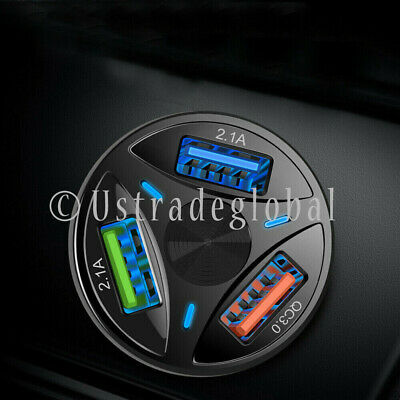 3 USB Port Fast Car Charger Adapter for iPhone Samsung Android Cell Phone LG
