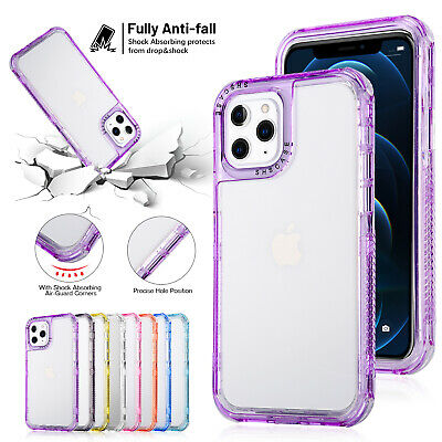 For iPhone 13 12 Pro Max 11 X 8 7 Shockproof Bumper Transparent Clear Case Cover