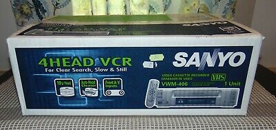 NEW NEVER OPENED Boxed SANYO 4 Head VCR VWM-406 With REMOTE