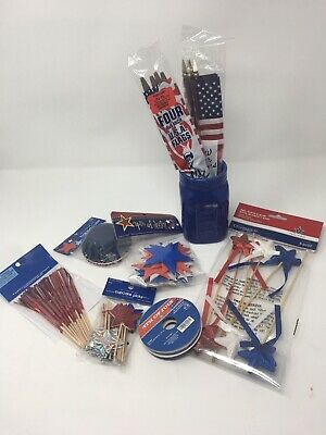 4th of July CUPCAKE BAKING CUPS - PICKS- 8 4x6 american flags-craft red blue Jar