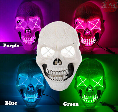 Halloween LED Clubbing Light Up Mask Skeleton Costume Rave Cosplay Party 3 Modes