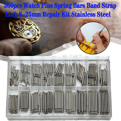 360pcs Watch Band Spring Bars Strap Link Pins Steel 8-25mm Repair Kit Stainless