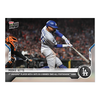 Mookie Betts - 2021 MLB TOPPS NOW® Card 968 4-4 GAME 1ST DODGER ELIMINATION PRE