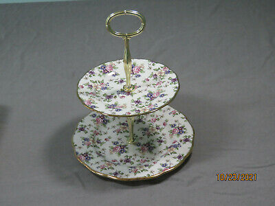 EXCLT ROYAL ALBERT 100 YEARS 1940s ENGLISH CHINTZ 2 TIERED SERVING TRAY DISH