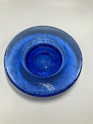 Fire And Light Recycled Glass Candle Plate Wine Server Cobalt Blue 6-5x1-5