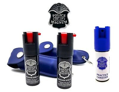 Police Magnum Pepper Spray 2 Pack 12oz Keychain B Holster Case wPractice Spray