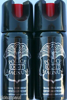 2 PACK Police Magnum pepper spray 2oz Safety Lock Stream Defense Security