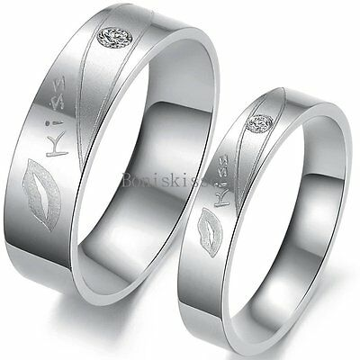 Stainless Steel  Kiss  Lip Love Promise Engagement Ring Couples Wedding Band