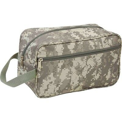 New 11 Green CAMO TRAVEL Water Resistant TOILETRIES BAG Mens Toiletry Shave Kit
