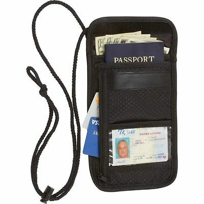 Travel Security Passport ID Holder w Neck Strap Transparent Cover Mens Wallet
