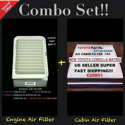 Engine-Cabin Air Filter AF5655 C25851 For 09-18 Corolla Vibe xD Yaris Matrix