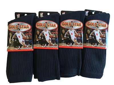 3 OR 12 Pairs NAVY BLUE COTTON Gold Star Mens Crew Socks Cushion Sports 10-13