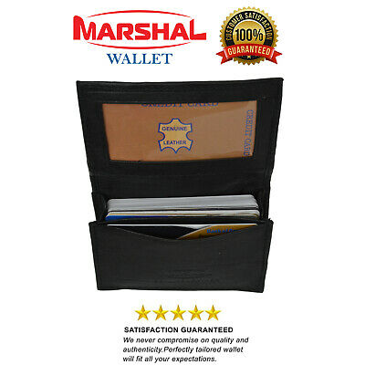 Genuine Leather Black Expandable Credit Card ID Business Card Holder Wallet