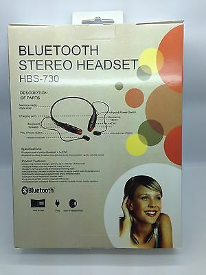 LOT OF 25 NEW BLUETOOTH STEREO HEADSET HBS-730 AROUND THE NECK MIXED OF 4 COLORS