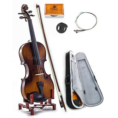 Solid Maple Spruce Wood Fiddle Violin 44 Full Size w Case Bow Rosin String