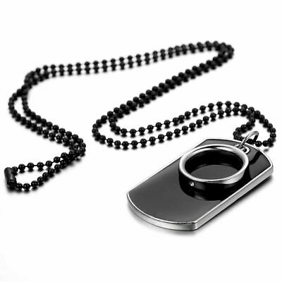 Mens Stainless Steel Black Ring Dog Tag Pendant Necklace w Bead Chain