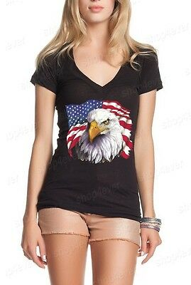 American Flag National Symbol Eagle Womens V-Neck T-shirt 4th of July Shirts