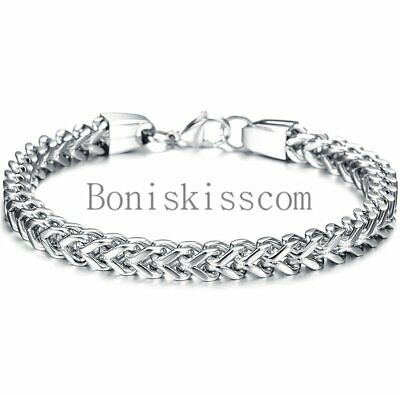 Heavy Stainless Steel Square Curb Wheat Chain Link Bracelet Mens Bangle Silver