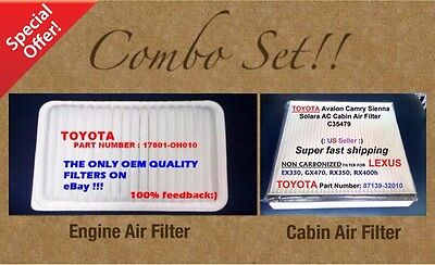 Engine Filter - Cabin Air Filter Combo Set For CAMRY SIENNA SOLARA OEM Quality