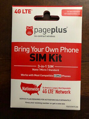 PAGE PLUS 4G LTE MICRO MINI SIM CARD UNLIMITED VERIZON WIRELESS BY PAGE PLUS