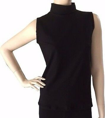 Women Cotton Spandex Sleeveless Turtleneck Tops T-Shirt Tee Blouse 32 Colors USA
