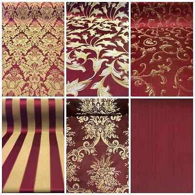 BurgundyGold Damask Jacquard Brocade Fabric 118 By the Yard Many Design