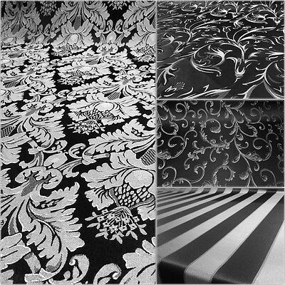 BlackSilver Damask Jacquard Brocade Fabric 118 By the Yard Many Design