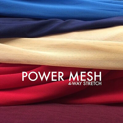 Solid Power Mesh Fabric Nylon Spandex 60 wide Stretch Sold BTY Many Colors