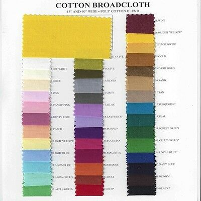 Cotton Polyester Blend Broadcloth Fabric Apparel 45 Inches Solid-10 YARD BOLT