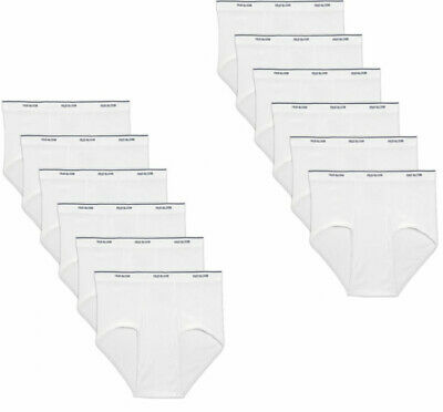12 PK MENS WHITE BRIEFS 100 COTTON  FRUIT OF THE LOOM
