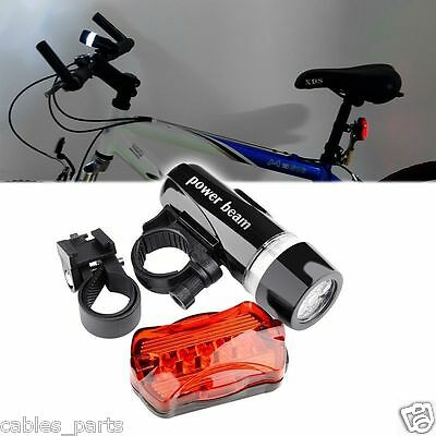 Waterproof 5 LED Lamp Bike Bicycle Front Head Light - Rear Safety Flashlight New