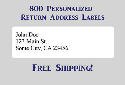 800 Printed Personalized Return Address Labels - 12 x 1 34 Inch