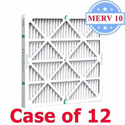 16x25x1 Air Filter MERV 10 Pleated by Glasfloss - Box of 12 - ACFurnace Filters