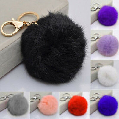 Christmas Key Ring Rabbit Fur Ball PomPom Phone Car Keychain Pendant Handbag