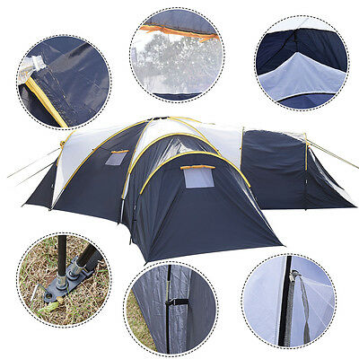 Waterproof 6-9 Person 3-1 Room Camping Tent Outdoor Hiking Two Layer Backpack
