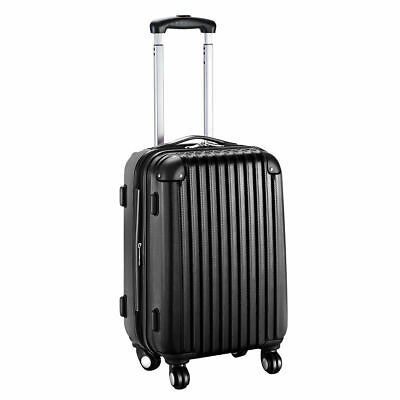 GLOBALWAY 20 Expandable ABS Carry On Luggage Travel Bag Trolley Suitcase Black