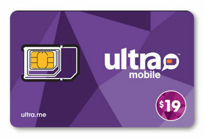 PreLoaded Ultra Mobile SIM Card with 19 Plan1st Month Services included