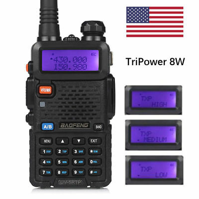Baofeng UV-5RTP VUHF Dual Band 136-174400-520MHz Tri-Power 8W HP Two-Way Radio