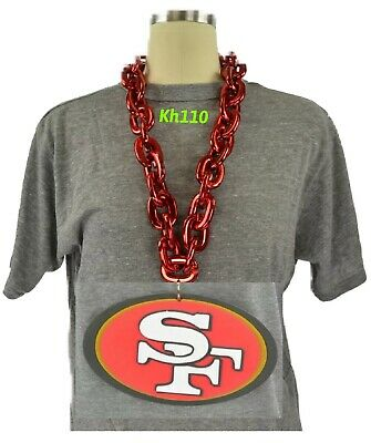 NFL San Francisco 49ers 3D Fan Chain Necklace Foam Magnet Red Chain