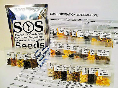 10000 Natural Vegetable Seed 30 Variety Garden Pack Emergency Survival Kit Food